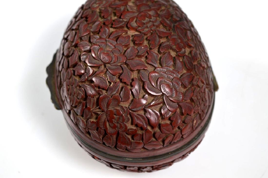19th C Chinese Red Cinnabar Lacquer Hinged Egg Box - 2