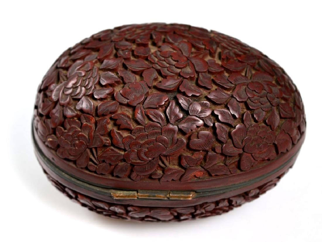 19th C Chinese Red Cinnabar Lacquer Hinged Egg Box - 3