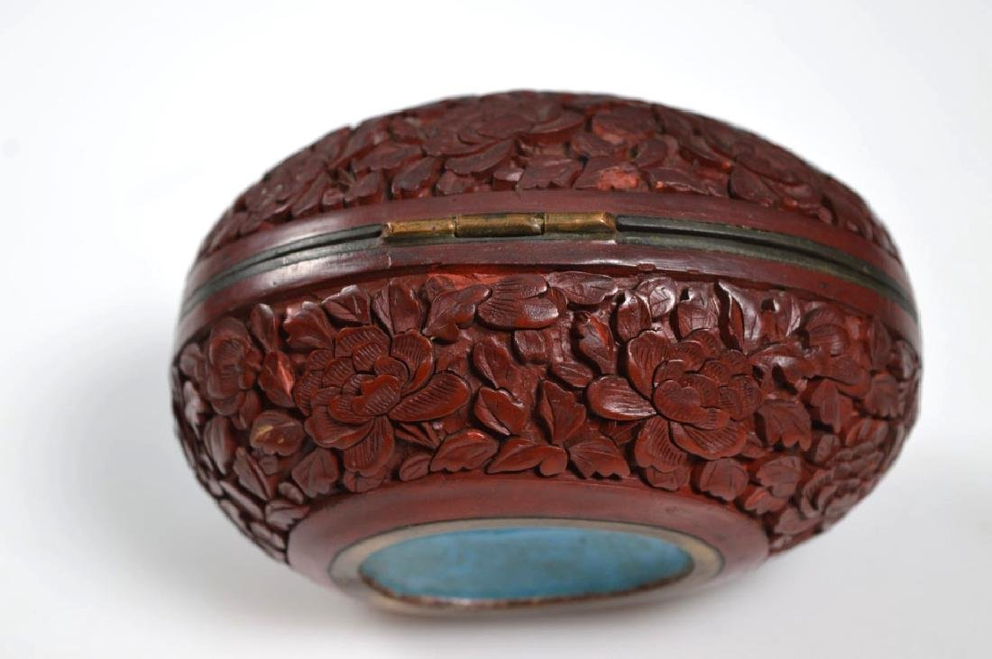19th C Chinese Red Cinnabar Lacquer Hinged Egg Box - 4