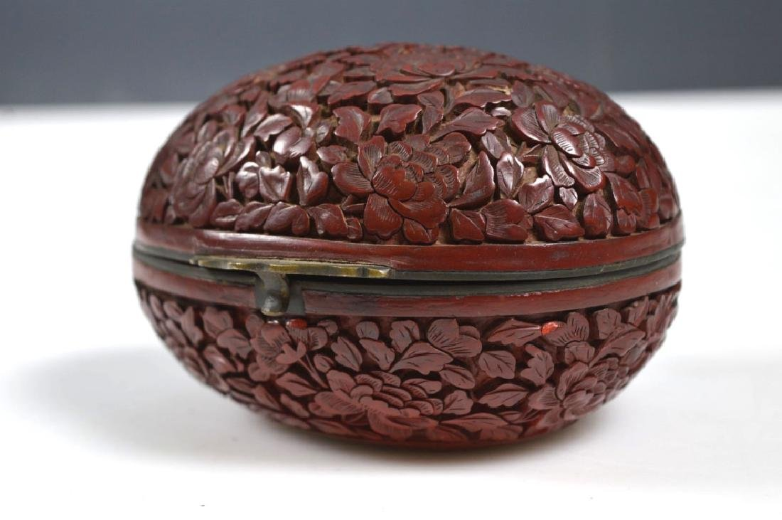 19th C Chinese Red Cinnabar Lacquer Hinged Egg Box - 5
