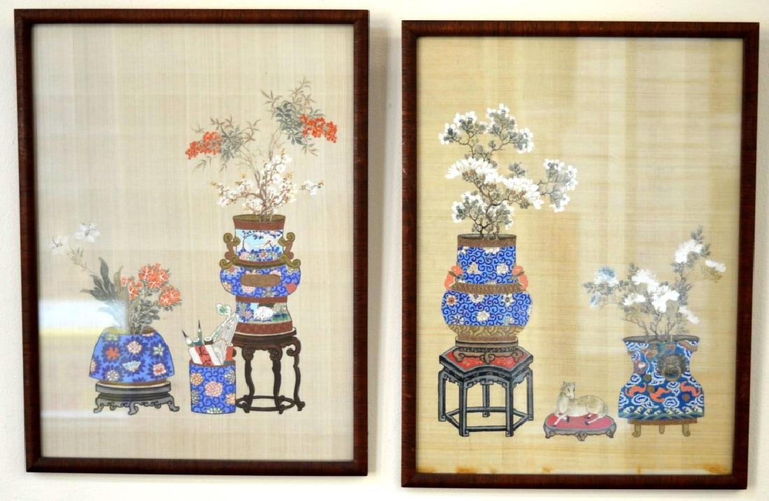 2 - Chinese Painting on Silk of Flowers in Vases