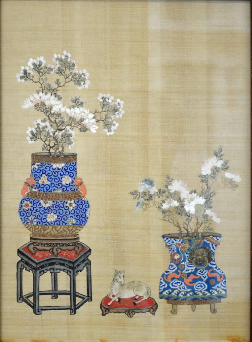 2 - Chinese Painting on Silk of Flowers in Vases - 2