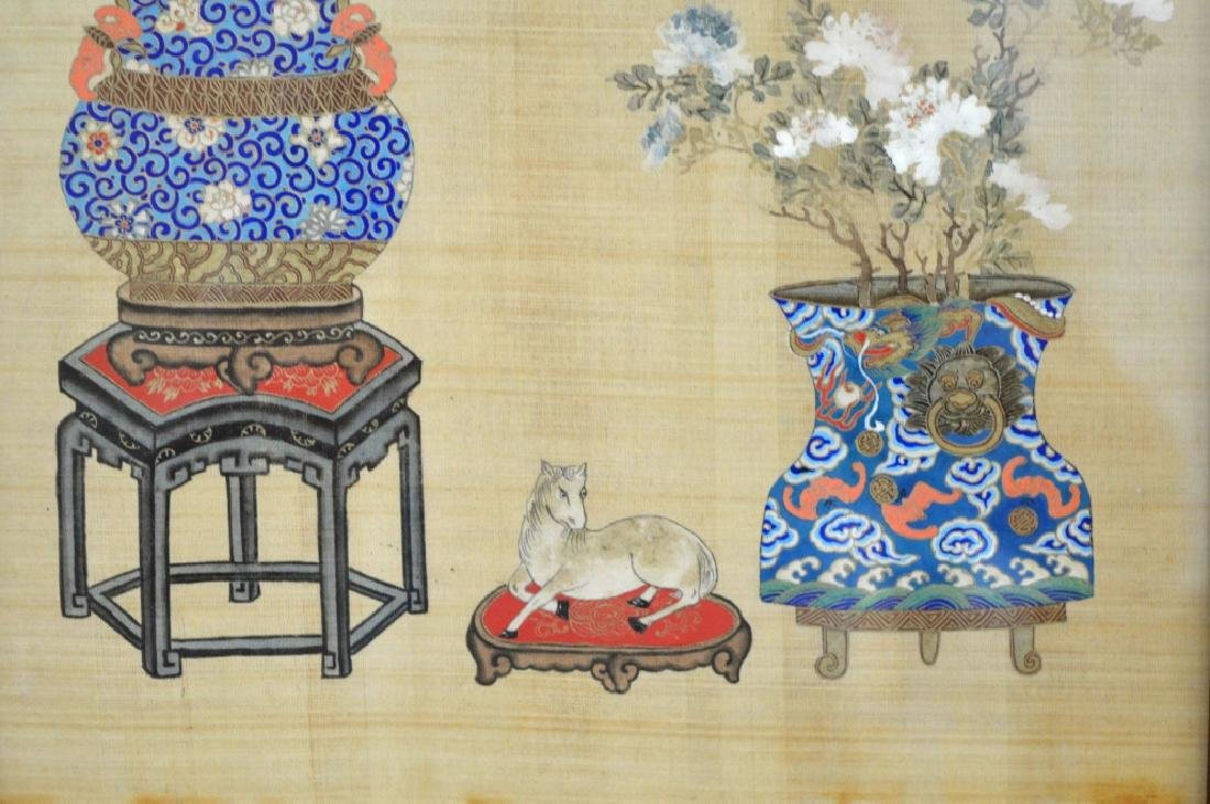 2 - Chinese Painting on Silk of Flowers in Vases - 3