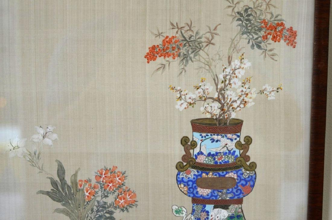 2 - Chinese Painting on Silk of Flowers in Vases - 4
