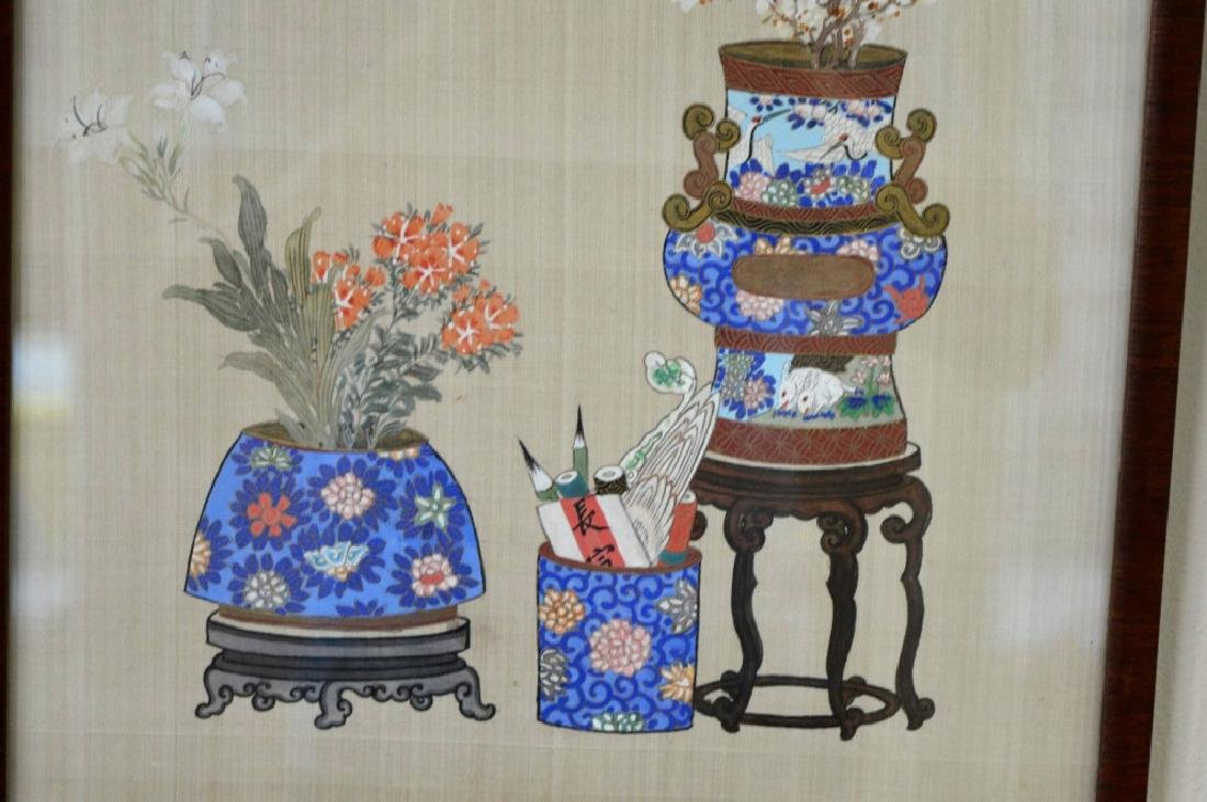 2 - Chinese Painting on Silk of Flowers in Vases - 5