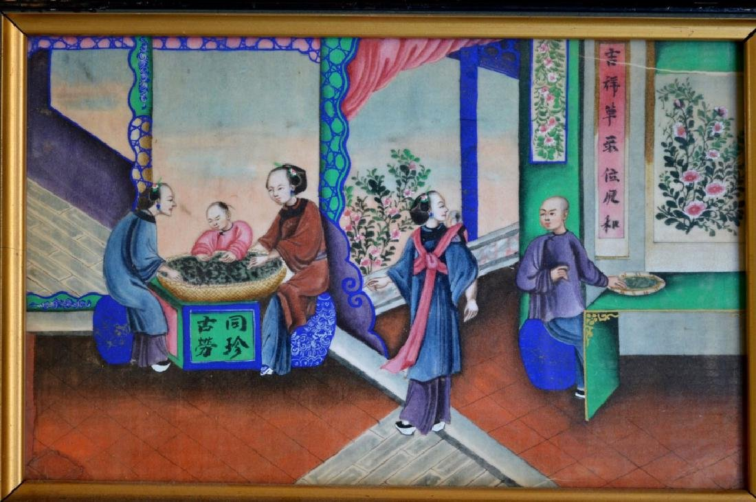 5 - 19th C Chinese Gouache Paintings of Tea Work - 2