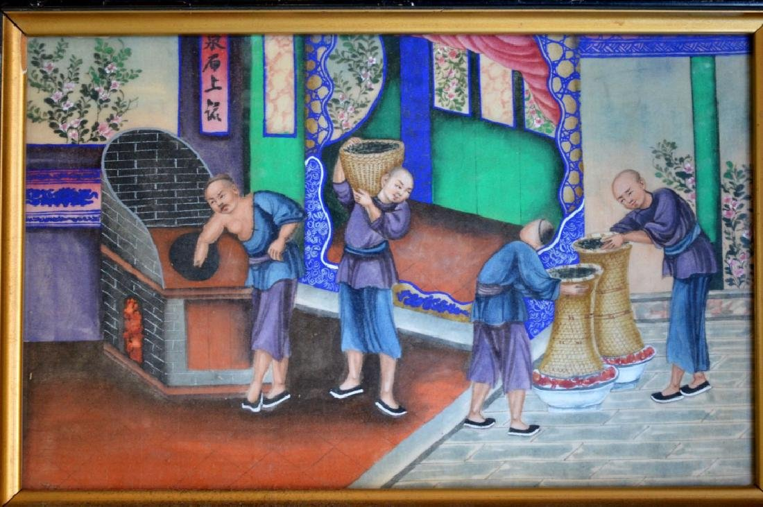 5 - 19th C Chinese Gouache Paintings of Tea Work - 3