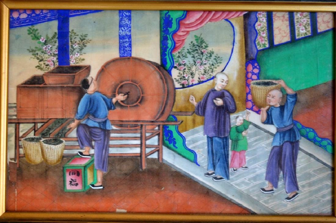 5 - 19th C Chinese Gouache Paintings of Tea Work - 5