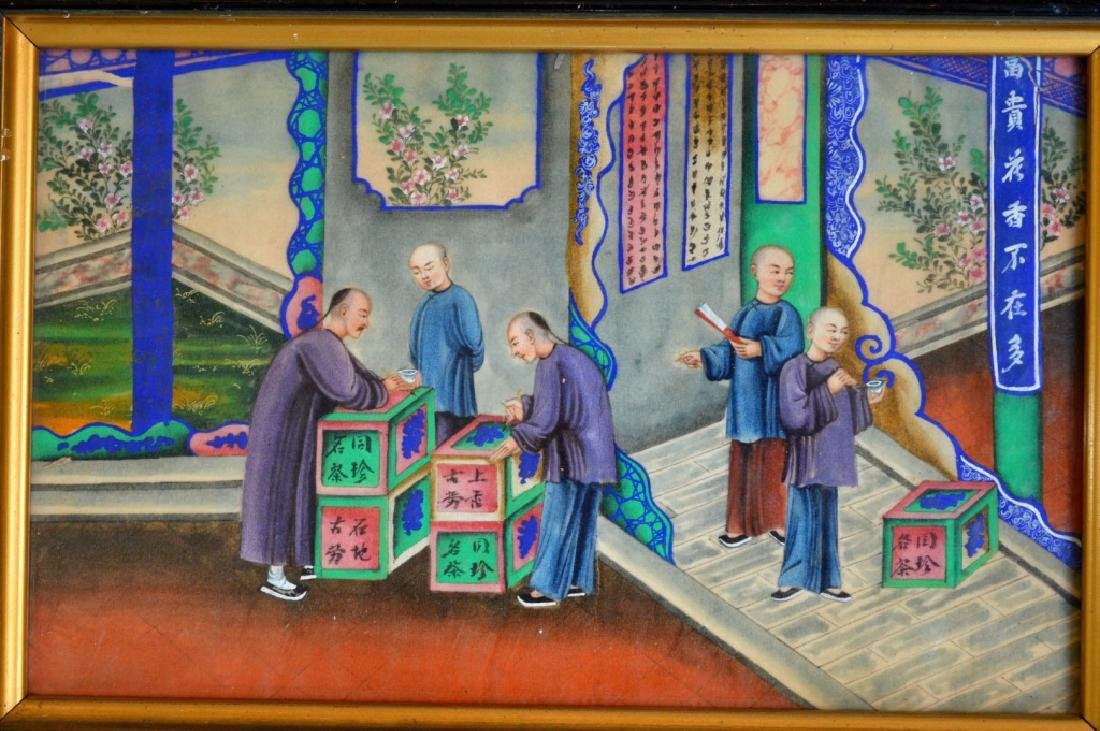 5 - 19th C Chinese Gouache Paintings of Tea Work - 6