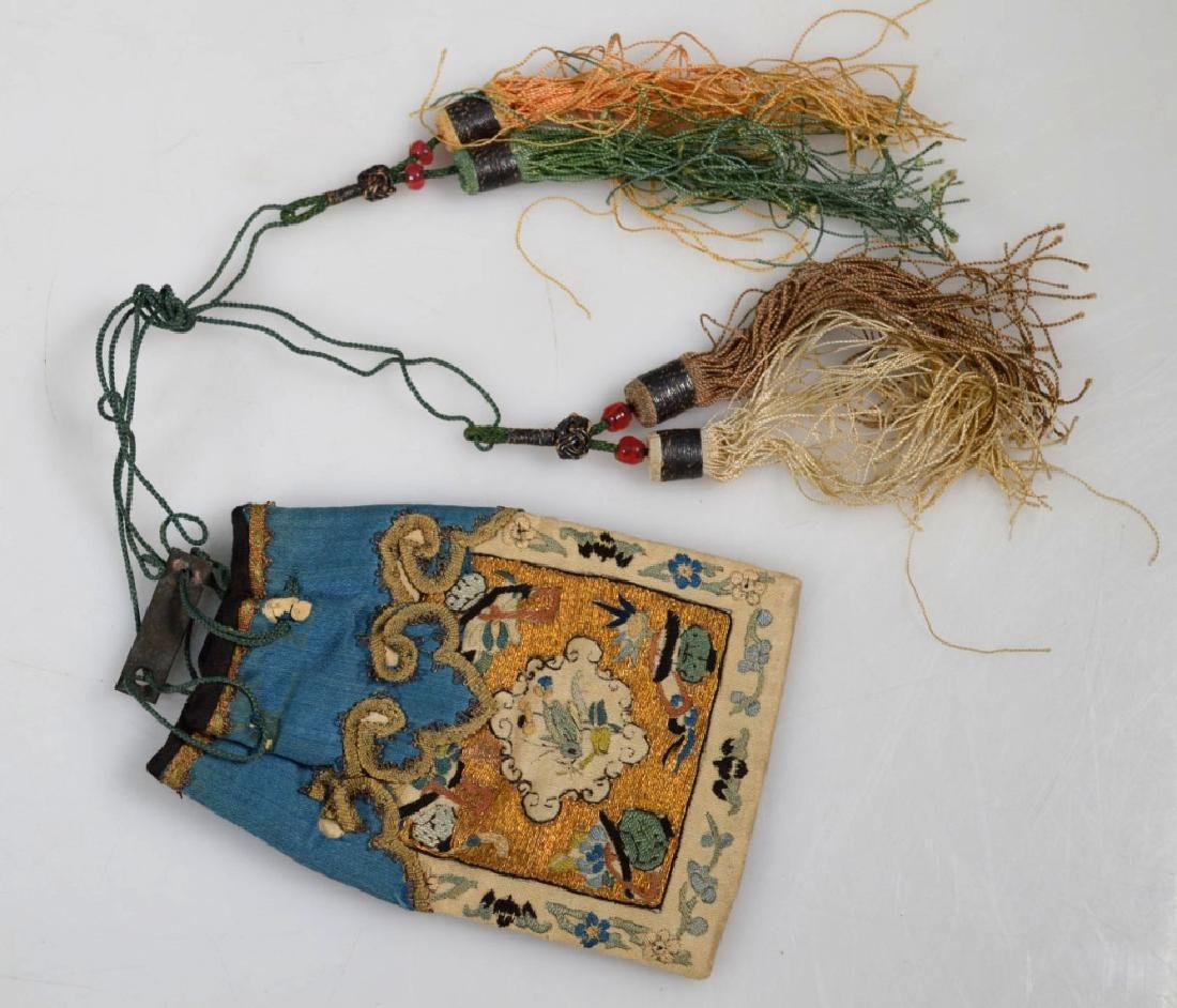 Fine 18th/19th C Chinese Embroidered Silk Purse