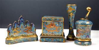 8 Pc Chinese Gilt Bronze & Cloisonne Writing Set