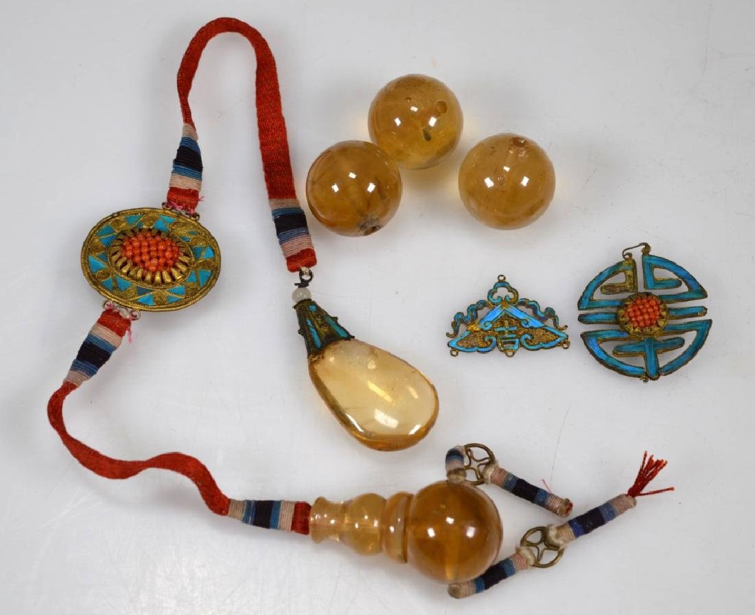 19thC Chinese Pale Yellow Beads; Feathered Plaques