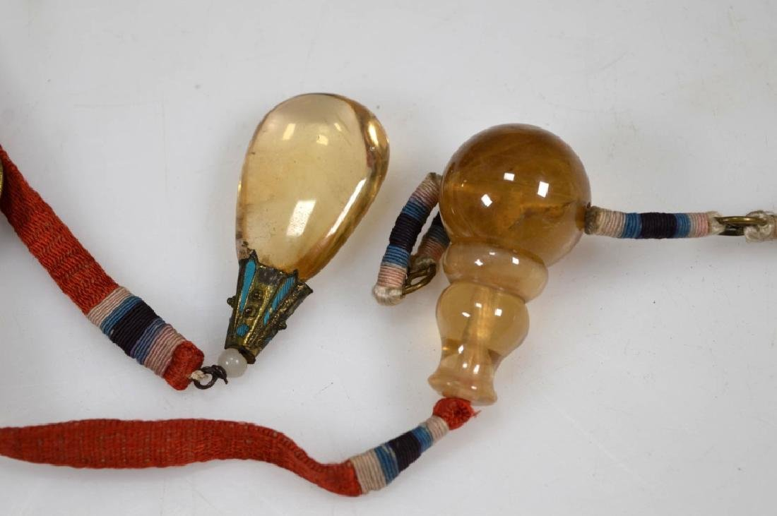 19thC Chinese Pale Yellow Beads; Feathered Plaques - 7