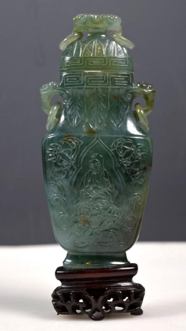 Chinese Translucent Green Hardstone Urn & Cover - 2