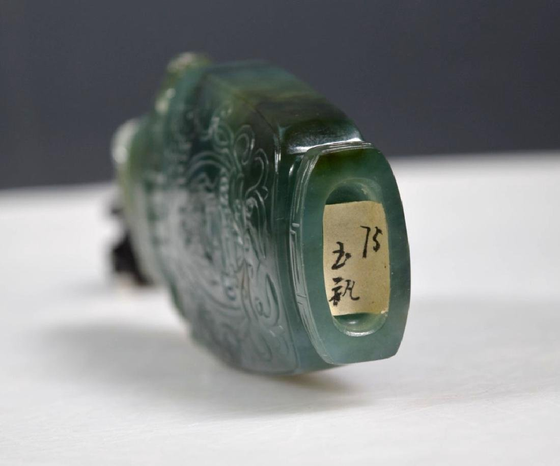 Chinese Translucent Green Hardstone Urn & Cover - 6