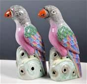 Pair Chinese Famille Rose Porcelain Parrots