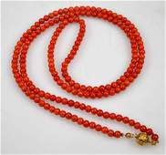 Dark Coral Bead Necklace; High Karat Gold Closure