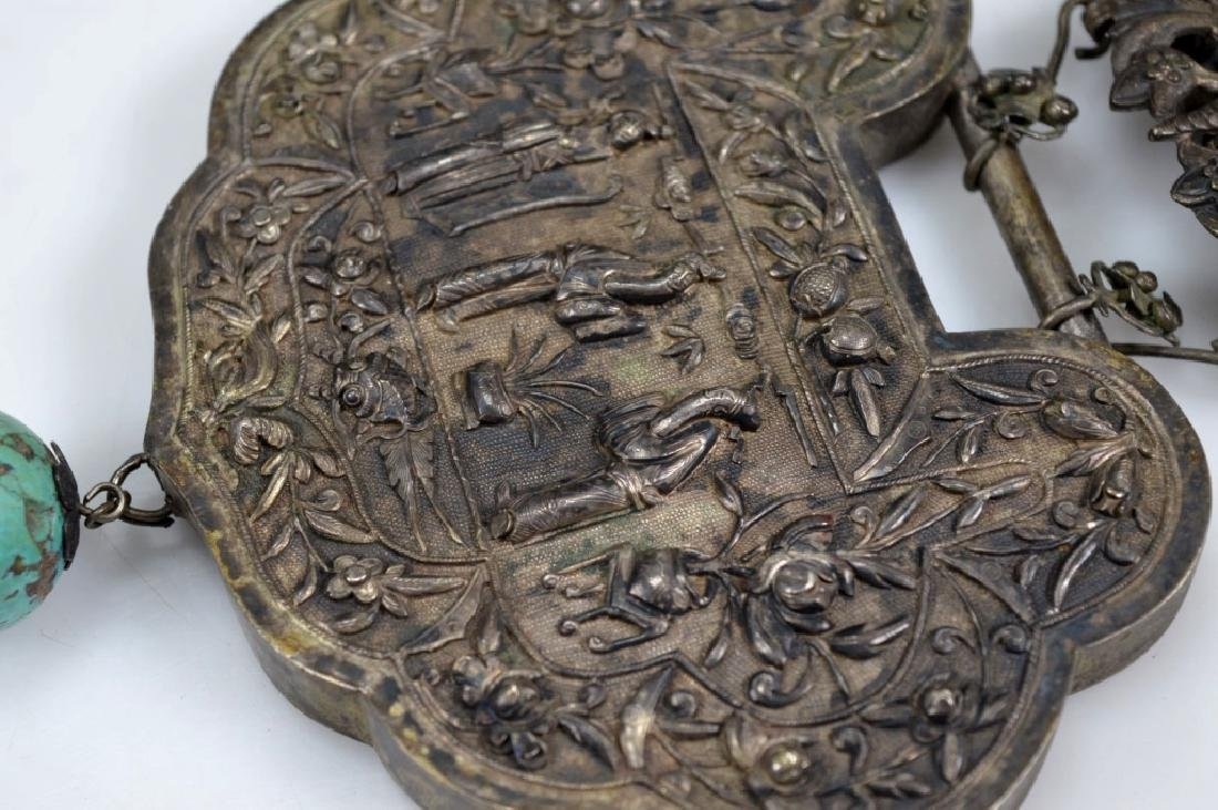 """19th C Chinese Engraved Silver """"Lock"""" Necklace - 7"""