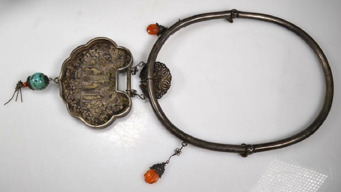 """19th C Chinese Engraved Silver """"Lock"""" Necklace - 8"""