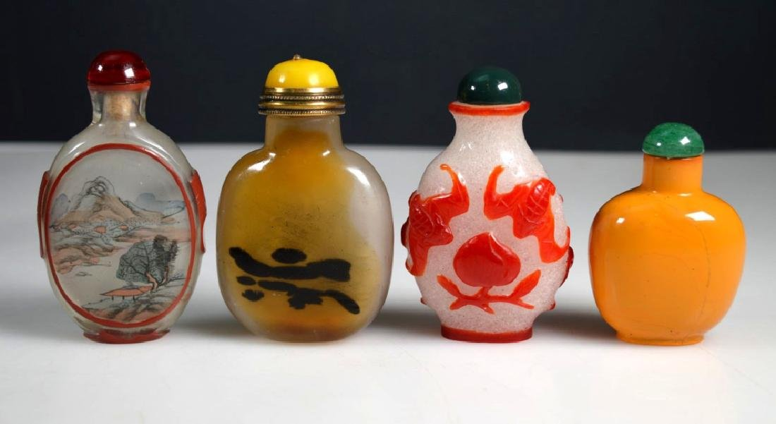4 - Antique Chinese Glass Snuff Bottles - 2