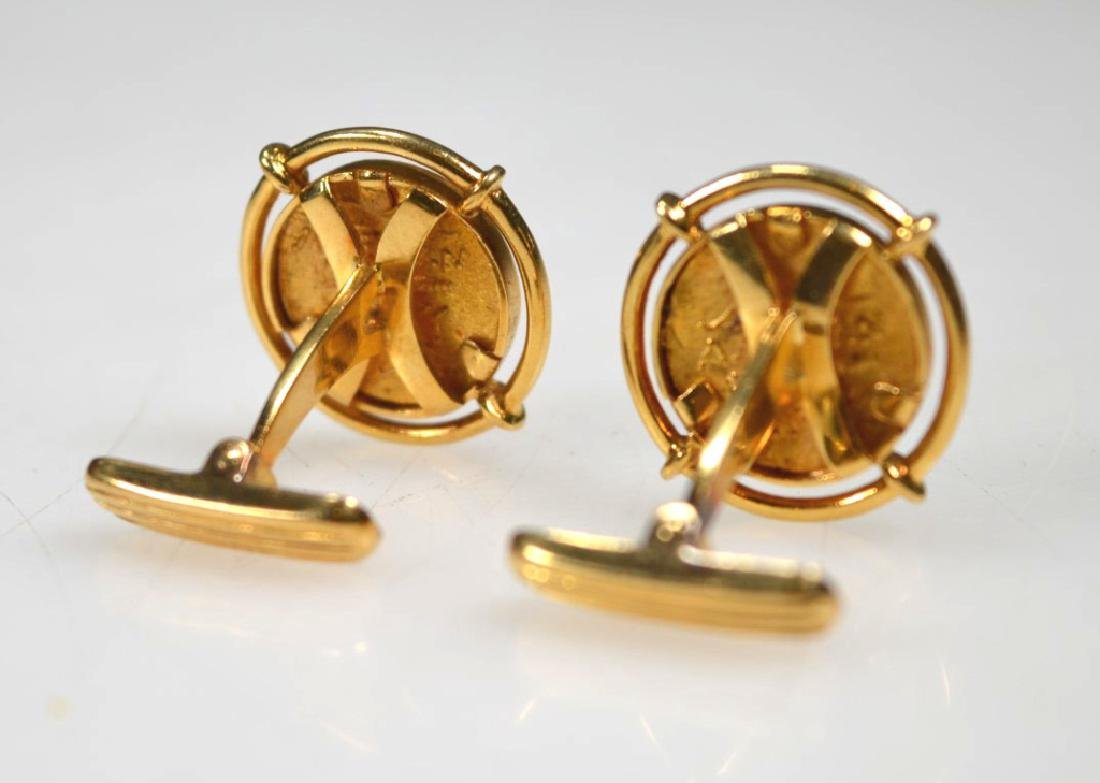 Ilias Lalaounis; Solid Gold Coin Cuff Links - 4