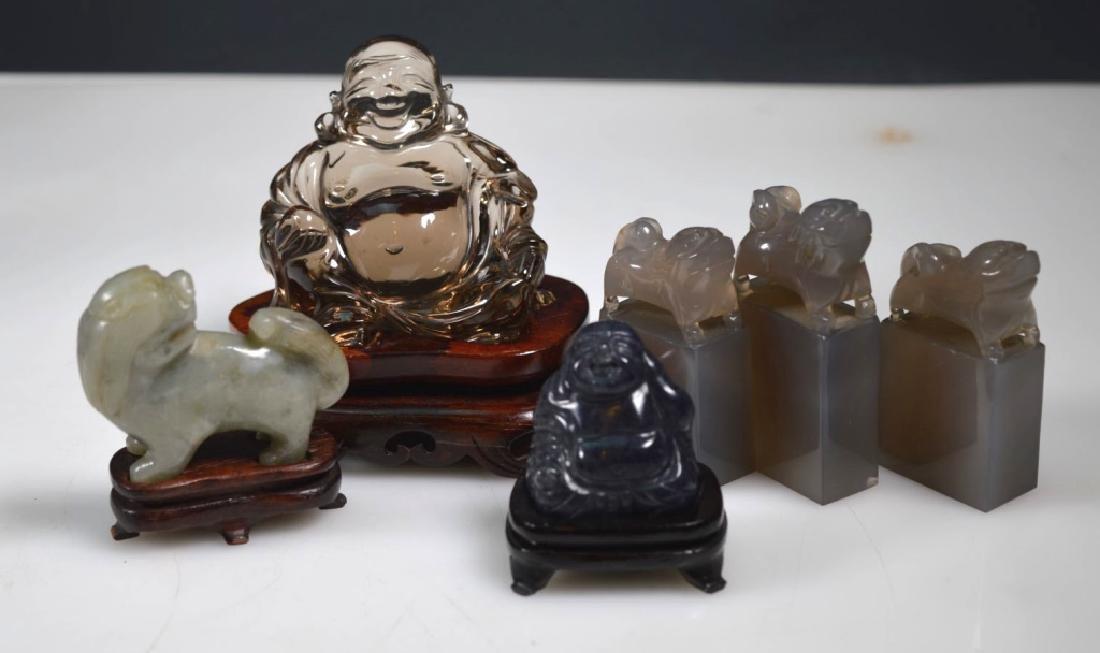6 - Chinese Crystal, Agate, Jade Carvings