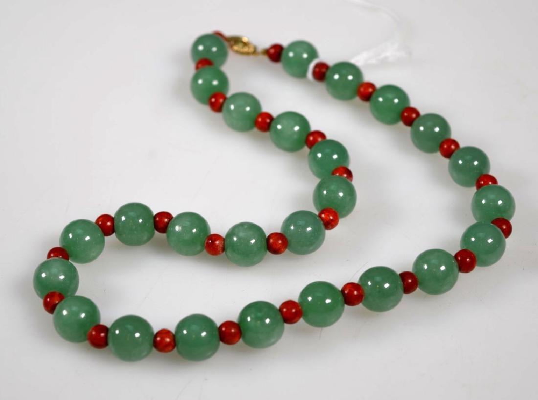 Chinese Jadeite Bead Necklace; 14K Closure