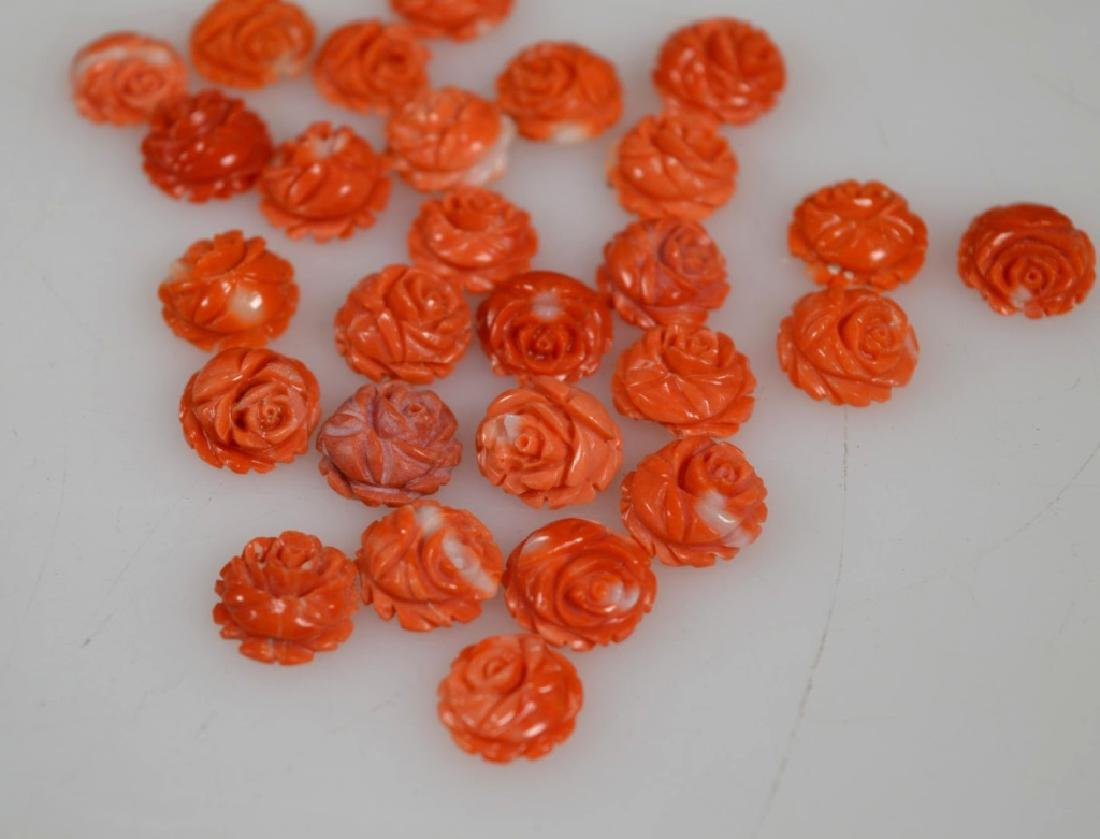 27 Carved Coral Roses; weight 14.5G - 2