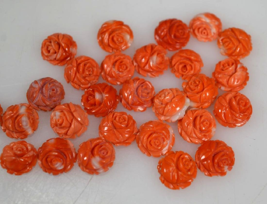 27 Carved Coral Roses; weight 14.5G - 3