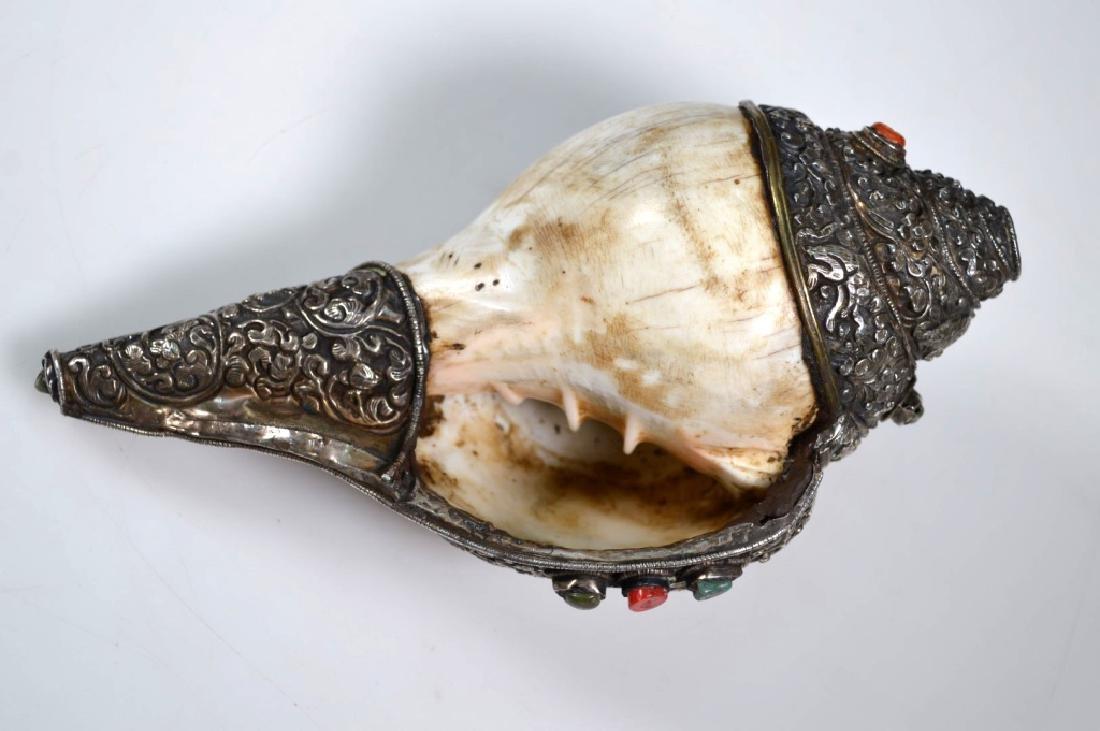 Antique Tibetan Silver & Conch Shell Ritual Horn - 5