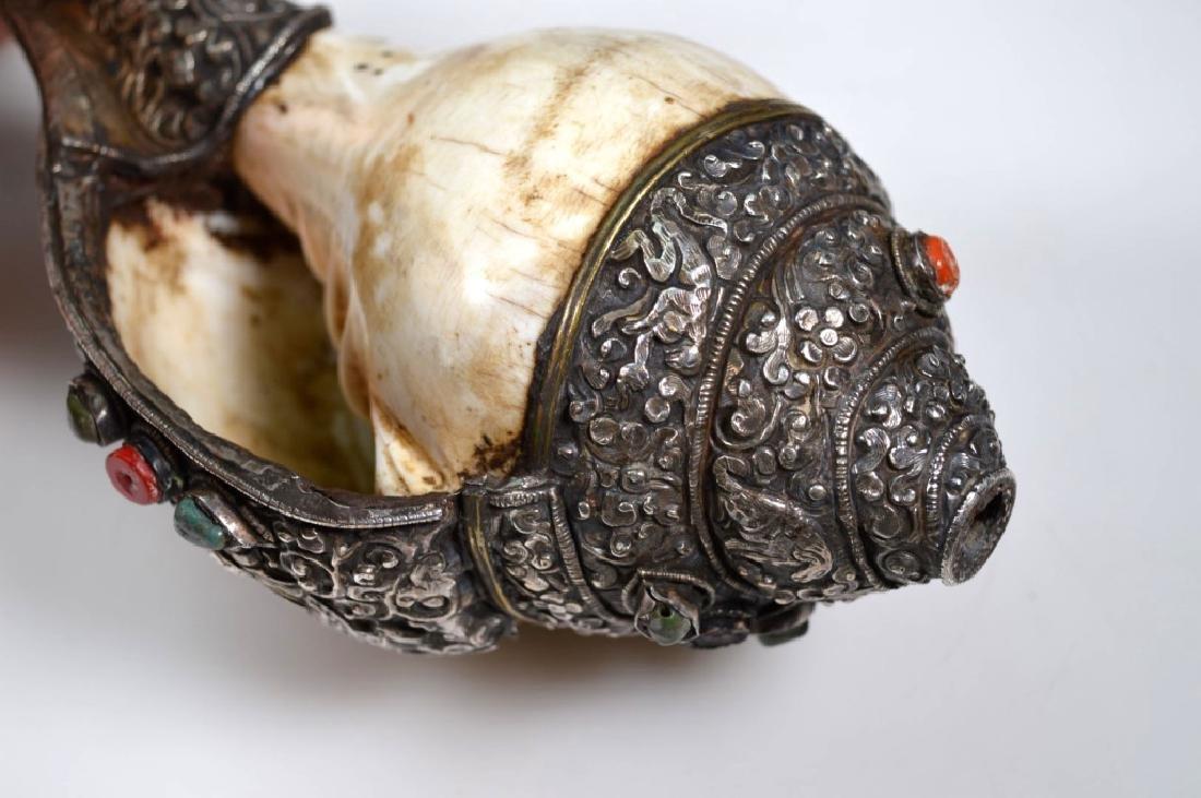 Antique Tibetan Silver & Conch Shell Ritual Horn - 6