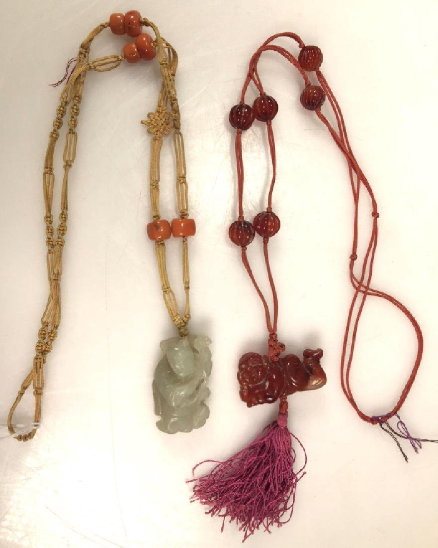 2 Chinese Hardstone & Coral Bead Necklaces