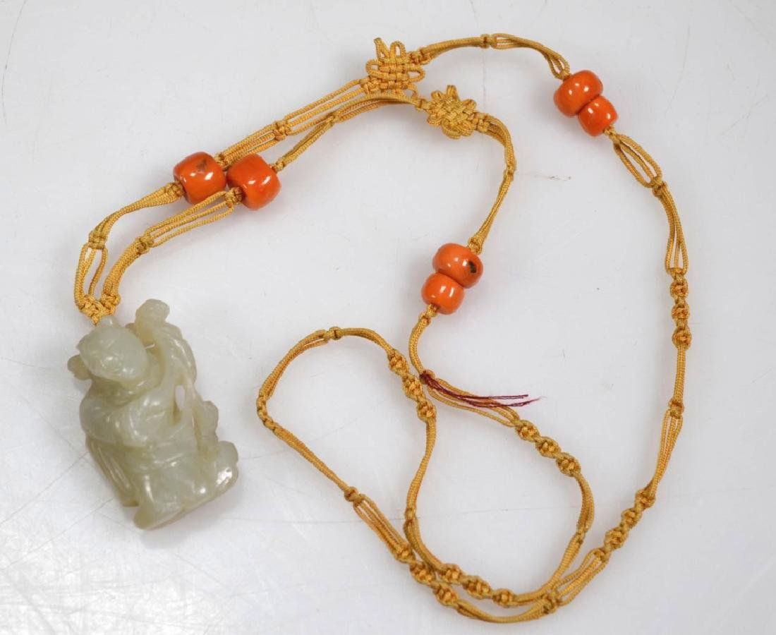 2 Chinese Hardstone & Coral Bead Necklaces - 2