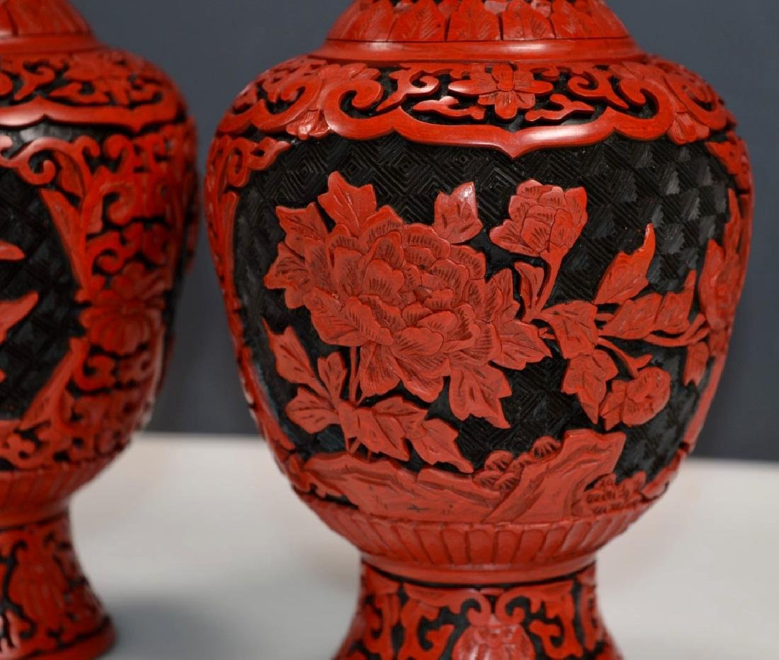 Pair Chinese Black and Red Cinnabar Lacquer Vases - 2