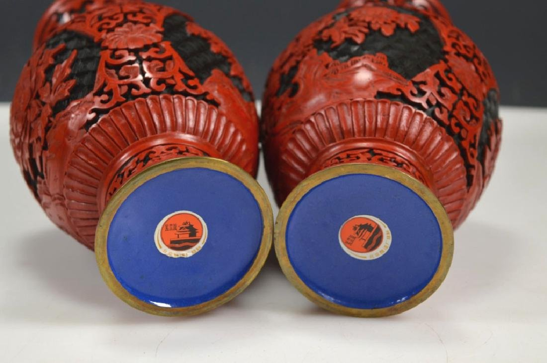 Pair Chinese Black and Red Cinnabar Lacquer Vases - 6