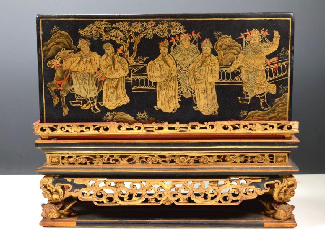 Chinese Carved Guangdong Lacquer Box on Stand
