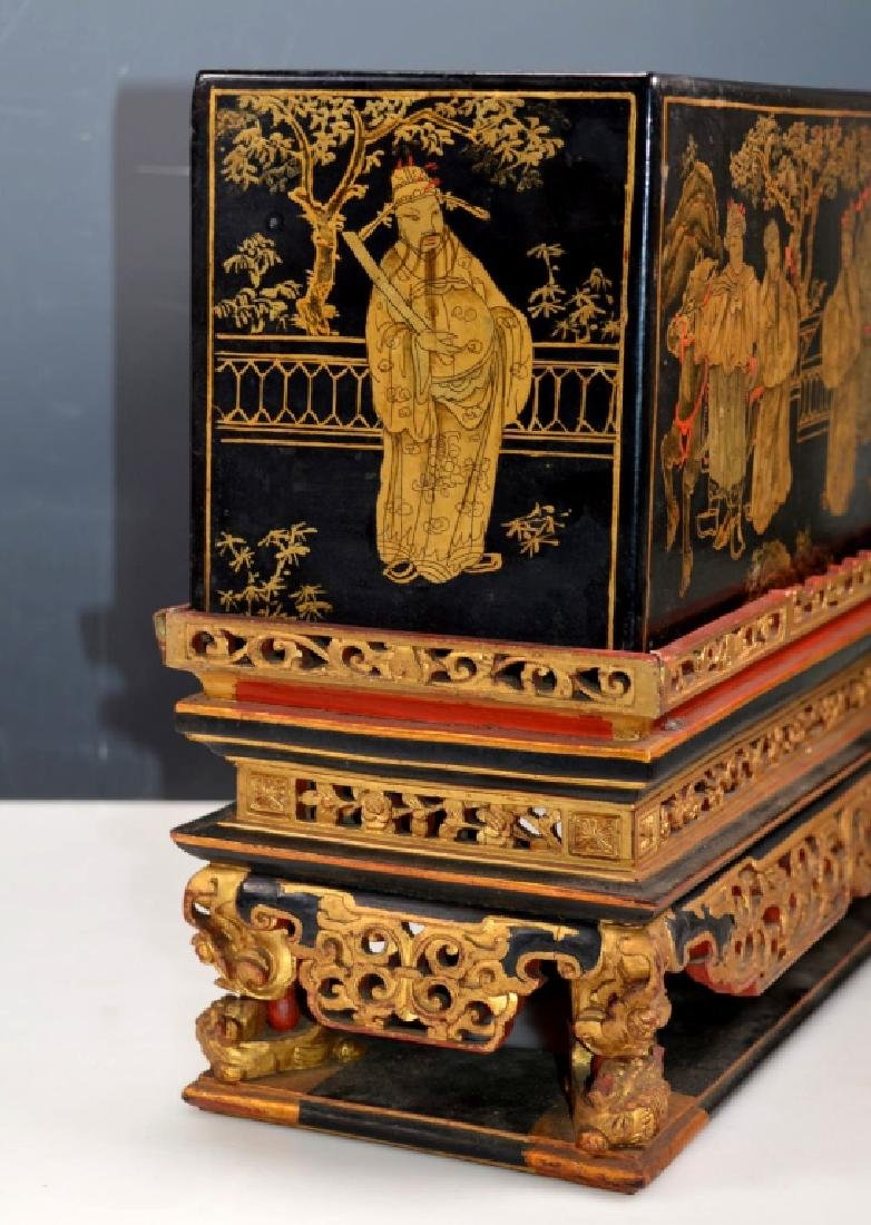 Chinese Carved Guangdong Lacquer Box on Stand - 2