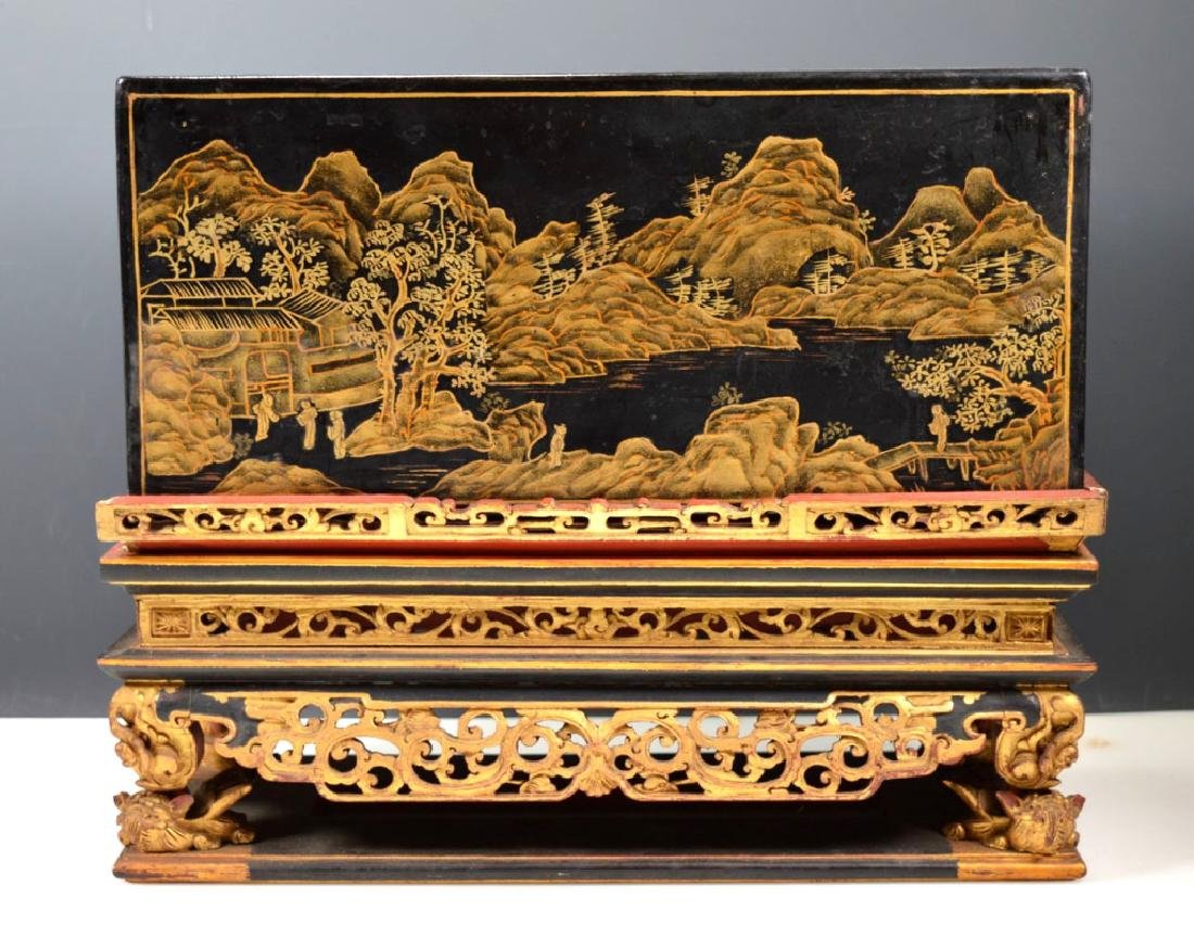Chinese Carved Guangdong Lacquer Box on Stand - 3