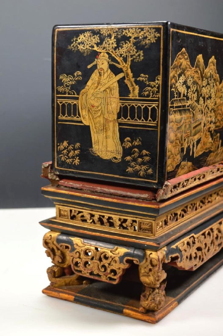 Chinese Carved Guangdong Lacquer Box on Stand - 4