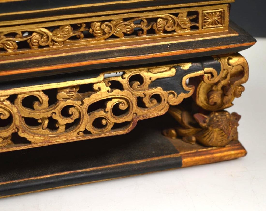 Chinese Carved Guangdong Lacquer Box on Stand - 5