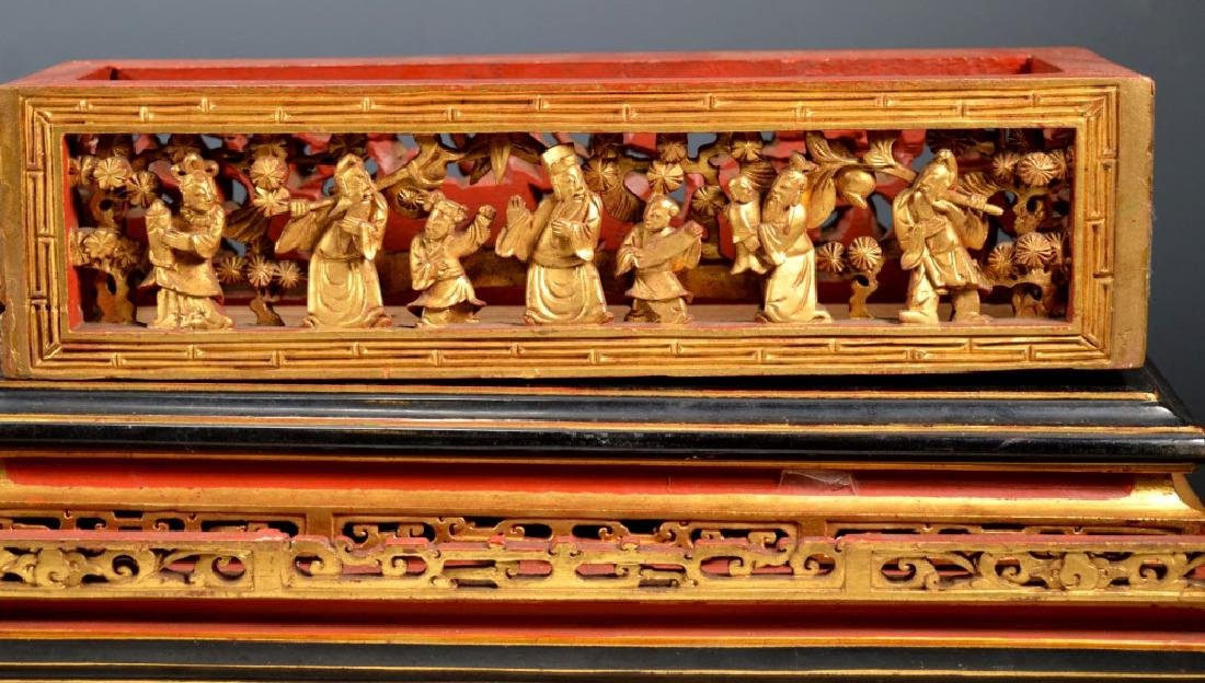 Chinese Carved Guangdong Lacquer Box on Stand - 6
