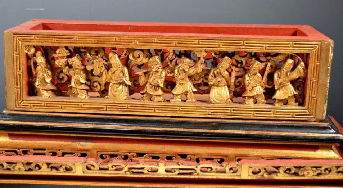 Chinese Carved Guangdong Lacquer Box on Stand - 7
