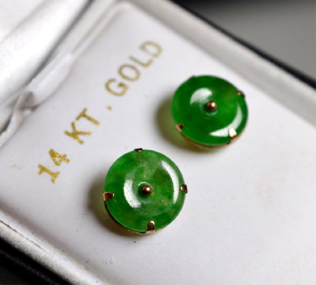 "Pr Chinese Green Jadeite Button Earrings ""14K"" - 3"