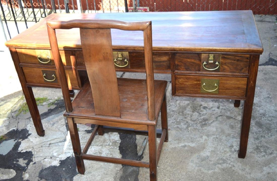 19th C Chinese Huali Wood 5 Drawer Desk & Chair