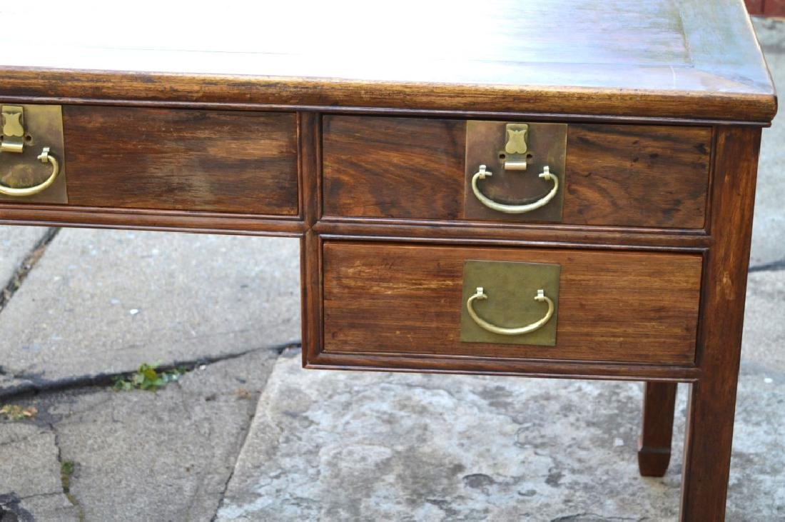 19th C Chinese Huali Wood 5 Drawer Desk & Chair - 2