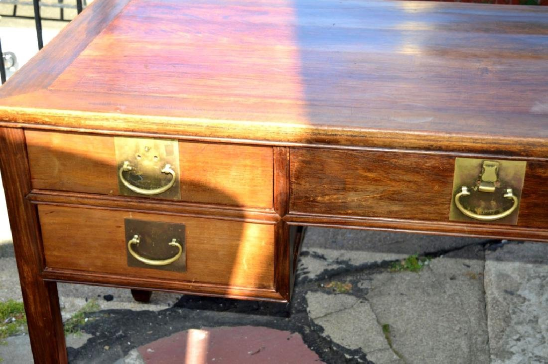 19th C Chinese Huali Wood 5 Drawer Desk & Chair - 3