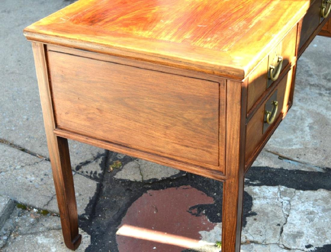 19th C Chinese Huali Wood 5 Drawer Desk & Chair - 5