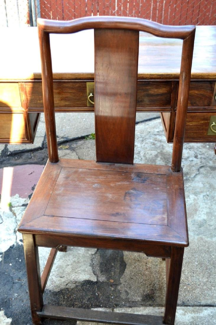 19th C Chinese Huali Wood 5 Drawer Desk & Chair - 6