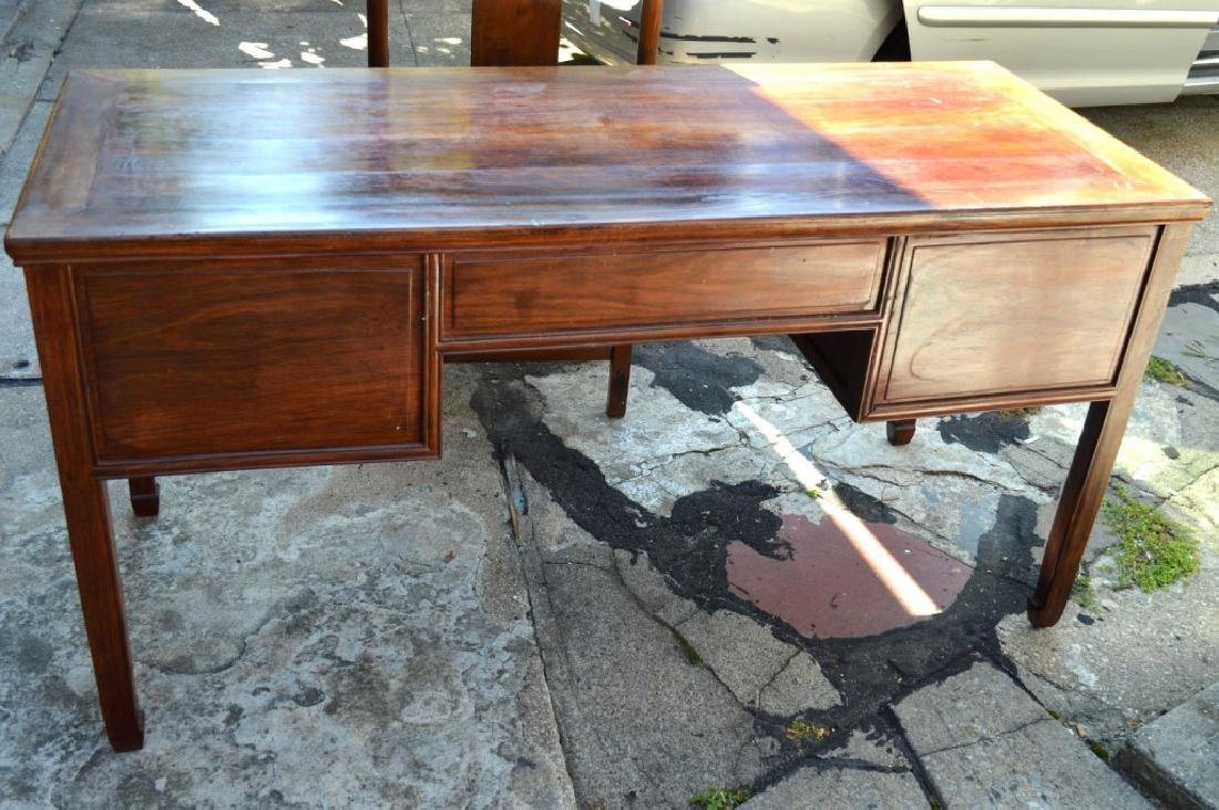 19th C Chinese Huali Wood 5 Drawer Desk & Chair - 7