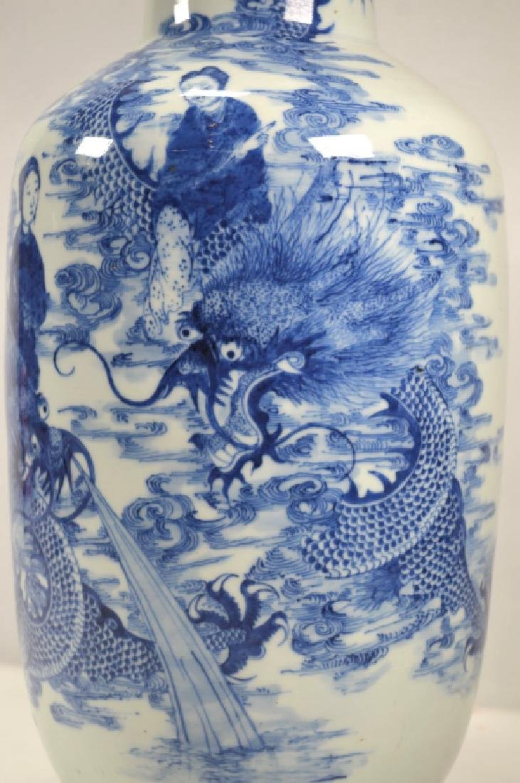 19th C Chinese Blue & White Dragon Porcelain Vase - 2